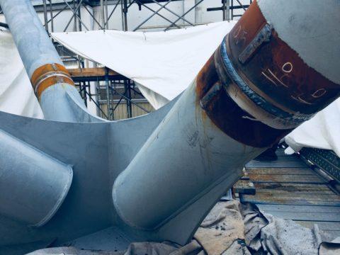 H29施工 富山駅駅舎 柱溶接工事